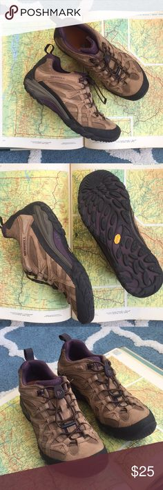 Merrell Chameleon Arc 2 Stretch Hiking Low Shoe SO comfy. I could wear this version of Merrells all day long!   -Cord/bungee style lacing system is hassle free/no untied laces!  -Cute dark purple upper mesh venting near opening -Ortholite footbed is 🙌🏻 -Vibram soles! (still have lots of miles left in them!)  Lightly loved but no issues or blemishes. Merrell Shoes Athletic Shoes