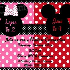 Twins Siblings Personalized Mickey and Minnie Mouse Polka Dot Party Invitations