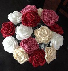 Watch The Video Splendid Crochet a Puff Flower Ideas. Wonderful Crochet a Puff Flower Ideas. Crochet Bouquet, Crochet Puff Flower, Knitted Flowers, Crochet Flower Patterns, Crochet Designs, Crochet Roses, Crochet Wedding, Wedding Crafts, Rose Bouquet