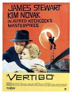 Alfred Hitchcock presents VERTIGO starring James Stewart & Kim Novak Vertigo Poster, Vertigo Movie, Vertigo Alfred Hitchcock, Hitchcock Film, Classic Movie Posters, Classic Movies, Old Movies, Vintage Movies, Saul Bass
