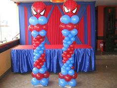 Great idea for a themed birthday party! We can make it happen! Spiderman Theme Party, Superhero Birthday Party, 6th Birthday Parties, Birthday Party Decorations, Balloon Tower, Balloon Stands, Balloon Columns, Spider Man Party, Diy Crafts