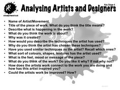 Analysing Artists and Designers: Middle School Art, Art School, High School, Art Analysis, Art Critique, Art Handouts, Art Criticism, Art Worksheets, Art Curriculum