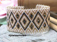 Bracelet Manchette Perle Miyuki - Triangle Blanc / Noir