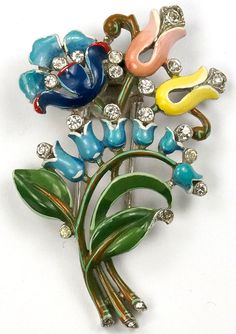 Trifari 'Alfred Philippe' Three Flowers and Lily of the Valley Spray Floral Posy Pin Clip