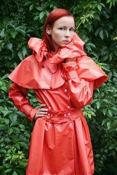 Orange PVC Hooded & Caped Raincoat