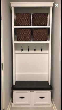Entryway locker with drawers shoe bench hall tree Dropzone Mudroom - Modern Entryway Storage Cabinet, Shoe Cabinet, Entry Way Lockers, Small Mudroom Ideas, Craftsman Style Kitchens, Mudroom Laundry Room, Bench Mudroom, Small Entryways, Shoe Bench