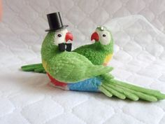 Green Parrots Bride and Groom Cake Topper / Wedding Decoration / Lovebirds Groom and Bride by ChicEventsDecor on Etsy