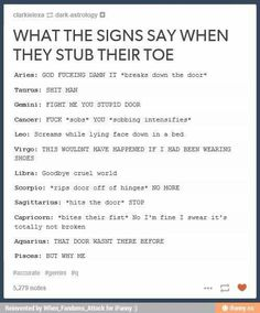 Virgo >> Sagittarius... and this is right, bc I really do this when I stub my toe..