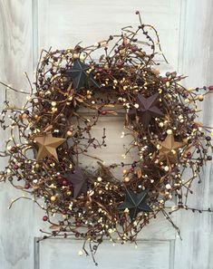 Primitive Americana Wreath with Pip Berries and Barn Stars, Grapevine Wreath, Patriotic Wreath, of July Wreath,MTO Grapevine Wreath-Pip Berry Wreath with Barn by ThePumpkinLadies Primitive Wreath, Primitive Crafts, Primitive Stars, Holiday Wreaths, Christmas Decorations, Holiday Decor, Patriotic Wreath, 4th Of July Wreath, Country Wreaths