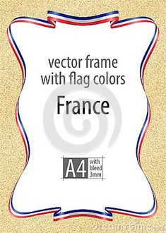 Frame and border of ribbon with the colors of the France flag, template elements for your certificate and diploma. Vector, with bleed three mm.
