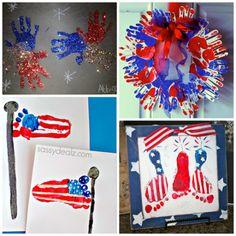 4th of july footprint handprint craft
