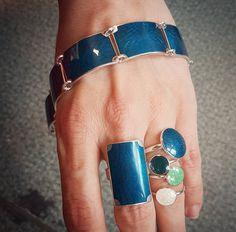 Inspirasjonsbilder fra Opro - norske emaljesmykker Enamel Jewelry, Jewellery, Gemstone Rings, Turquoise, Gemstones, Handmade, Fashion, Moda, Jewels