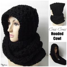 Free crochet pattern for a Criss Cross Hooded Cowl. The cowl pattern is given in one size only, but is easy to adjust to any size that you need it.