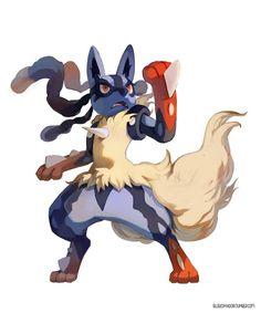 Mega Lucario by Bluekomadori, Trying to get back into painting :') Mega Lucario, Lucario Pokemon, Pikachu, Pokemon Fan Art, My Pokemon, Pokemon Stuff, Pokemon Pocket, Catch Em All, Character Design