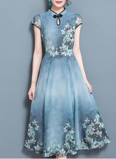 Cotton Floral Cap Sleeve Mid-Calf Elegant Dresses (1042486) @ floryday.com