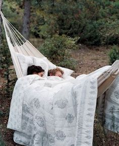 hammock in the woods  I would so love to do this!