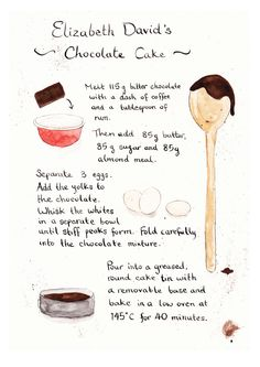 The 10 Dishes That Made My Career: Jackson Boxer - Elizabeth David's chocolate cake (my dad, Charlie) Chocolate Peanut Butter, Chocolate Chip Cookies, Chocolate Cake, Cake Illustration, Food Illustrations, Elizabeth David, Food Journal, Food Drawing, Almond Recipes