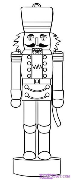 line drawing of a nutcracker.  I saw a 6 foot nutcracker standing guard outside a neighbor's garage.  He made it from PVC piping.  Am pinning this just in case it ever occurs to me to make one too.