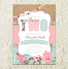 Tea For Two Invitation, Tea Party Invitation, 2nd Birthday Invitation, Tea For 2, Tea For Two Birthday, Digital, Printable Invitation by GrayCatGraphics on Etsy https://www.etsy.com/listing/280134404/tea-for-two-invitation-tea-party