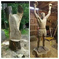 Muhammad Ali Being Carved From A Black Walnut Tree By James O'Neal