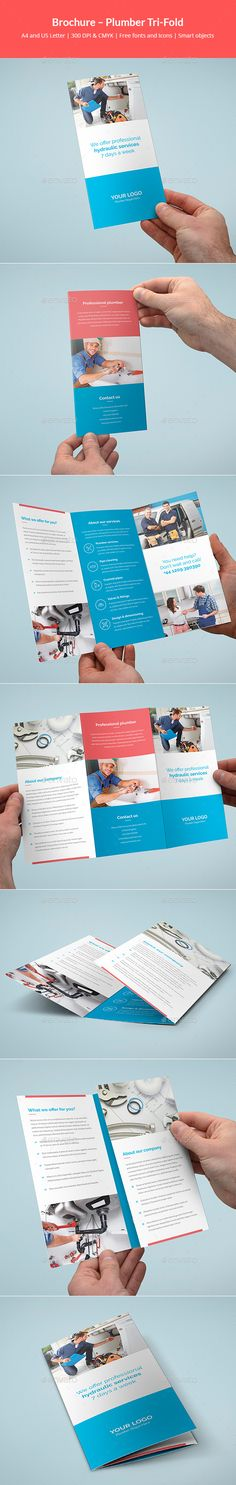#Brochure – Plumber Tri-Fold - Corporate Brochures Download here:  https://graphicriver.net/item/brochure-plumber-trifold/20020008?ref=alena994