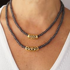 """SALE !!! SALE !!! SALE !!! 10% OFF WITH COUPON CODE """"10OFF"""" FREE SHIPPING WITH COUPON CODE """"FREESHIP"""" OVER $50   Gray Beaded Necklace with gold plated charms Charm by CharmByIA"""