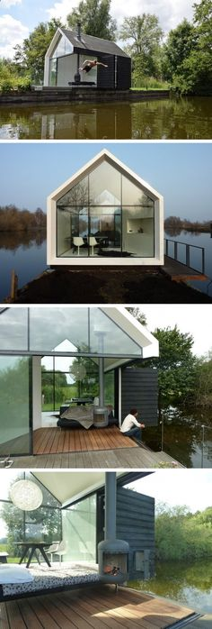 A Mini Dutch Holiday House Would make a great writer's retreat. Just not sure what it means- in terms of privacy, sanitation, and smell- for a toilet to be integrated into the wall. And hoping that's not the same wall the kitchen's integrated into. Casas Containers, Building A Container Home, Best Tiny House, Floating House, Tiny House Living, Living Room, Exterior Design, Architecture Design, House Plans