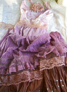 Purple gypsy  dress ruffles mauve beige lace  by vintageopulence