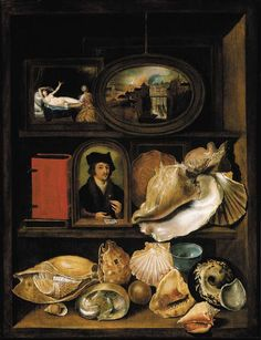 A still life of shells, paintings and books on recessed shelves, Hieronymous Francken II. Dutch Baroque Era painter (1578-1623)