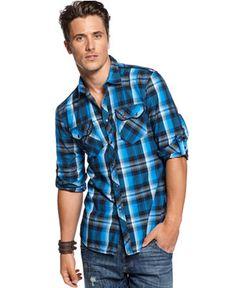 INC International Concepts Shirt, Long Sleeve Archway Plaid Shirt ...