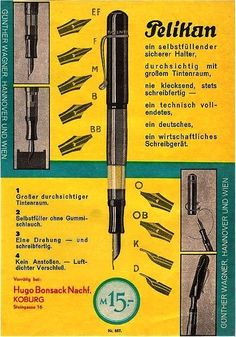 Where It All Started: The Transparent Pelikan Fountain Pen « The Pelikan's Perch Pelikan Fountain Pen, Fountain Pen Ink, Pelikan Pens, Fountain Pen Drawing, Dog Pen, Pen Shop, Industrial Design Sketch, Technical Drawing, Vintage Ads