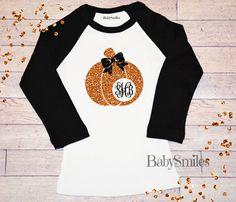 Monogram GLITTER Pumpkin Fall Shirt Raglan Shirt Thanksgiving Shirt Halloween…