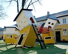 Love this idea for a funky idea for a kids playground in the backyard