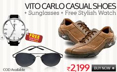 #MyDiscountOffer :New Feel Casual #Shoes+#Sunglasses+Free Stylish #Watch @ Rs - 2199/- ONLY  Click here for your purchase -