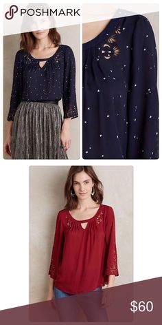 "Anthropologie Teni Blouse Star Print NWT DETAILS Polyester Pullover styling Machine wash Imported Style No. 4110580811100 Dimensions Regular: 24.5""L Anthropologie Tops Blouses"