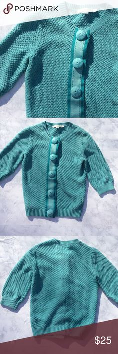 """Boden Teal Cardigan Boden Teal Cardigan with ribbon accents. Size US 4. Measurements: 16"""" armpit to armpit laying flat, 19"""" length. Boden Sweaters Cardigans"""