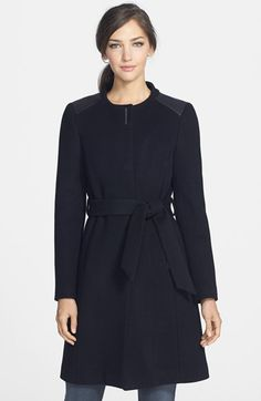 Elie Tahari 'Savannah' Leather Trim Collarless Wool Coat available at #Nordstrom