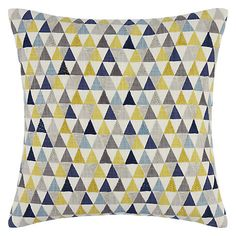 Buy John Lewis Prism Cushion from our Cushions range at John Lewis. Free Delivery on orders over Plain Cushions, Living Room Cushions, Yellow Cushions, Living Room Decor, Blue And Yellow Living Room, Blue Yellow Grey, Mid Century Bedroom, Scandinavian Style Home, Flat Interior