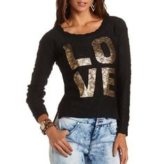 Charlotte Russe sweater - Size M. Black and gold, super pretty. No trades. Charlotte Russe Sweaters Crew & Scoop Necks
