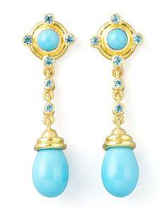 P2681 Elizabeth Locke 19k Gold Turquoise Drop Post Earrings