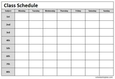 Printable class schedule template to prepare exam and class study schedule. Print weekly class schedule planner for children, college students, teachers. Study Schedule Template, Planner Template, Italian Language, Korean Language, Japanese Language, French Language, School Schedule Printable, School Template, Exam Schedule