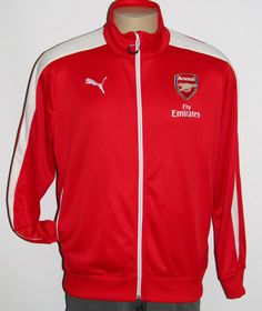 Puma Fly Emirates Arsenal Stadium Jacket Size LARGE Red Full Front Zip PERFECT L #PUMA #CoatsJackets