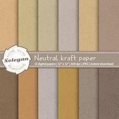 "kraft paper digital scrapbooking paper "" Neutral Kraft Paper "" seamless pattern…"