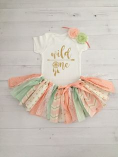 Peach, Mint and Gold Wild One Dreamcatcher Theme Birthday Outfit with Headband/Baby Girl Boho Theme First Birthday, Peach and Mint Tutu by MeadowsMarvels on Etsy https://www.etsy.com/listing/485539023/peach-mint-and-gold-wild-one