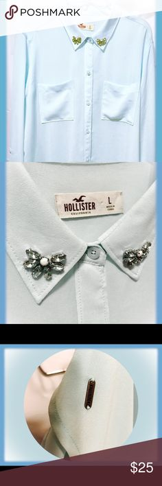 💎Women's Hollister Sheer Blouse 💎 💎Women's Hollister Sheer Blouse 💎           Size XL • Color Baby Blue • EUC 🌸🌸🌸🌸🌸🌸🌸🌸🌸🌸🌸🌸🌸🌸🌸 Very well taken care of. If you didn't know it was used, you you I'd tell be able tell looking at it in person.  🌸🌸🌸🌸🌸🌸🌸🌸🌸🌸🌸🌸🌸🌸🌸 *See additional photo *NOT this bliuse*for an example truer to the blouse baba blessed color. Only because lighting just wasn't working right and I like to know what I buying actually looks like. Hollister…
