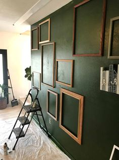 My (Easy) Living Room Accent Wall - A Beautiful Mess I've been sharing little bits and pieces of my living room decor for months and months now on. Green Accent Walls, Accent Walls In Living Room, Accent Wall Bedroom, Living Room Colors, My Living Room, Living Room Interior, Living Room Decor, Interior Livingroom, Painted Accent Walls