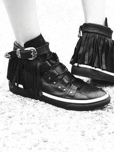 Short Stories Fringe Sneaker | Western-inspired leather sneakers featuring free-falling fringe detail and cool buckle accent at the ankle.  Adjustable laces on the upper makes for an easy on-off. Contrast detail along the rubber sole.