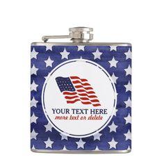 Patriotic Fourth of July American USA Flag Custom Hip Flask