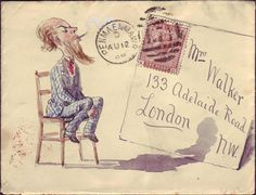 ¤ Artful Hand Illustrated Envelope sent to Mrs Walkers 133 Adelaide Road, London. One penny stamp with Queen Victoria