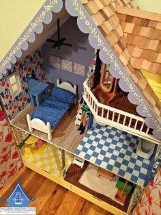 alpine-martin-dollhouse-wood-doll-house-top-down2 Dollhouse Kits, Kit Homes, Dollhouses, Beautiful Dolls, Toddler Bed, Barbie, Wood, Miniatures, Decorating